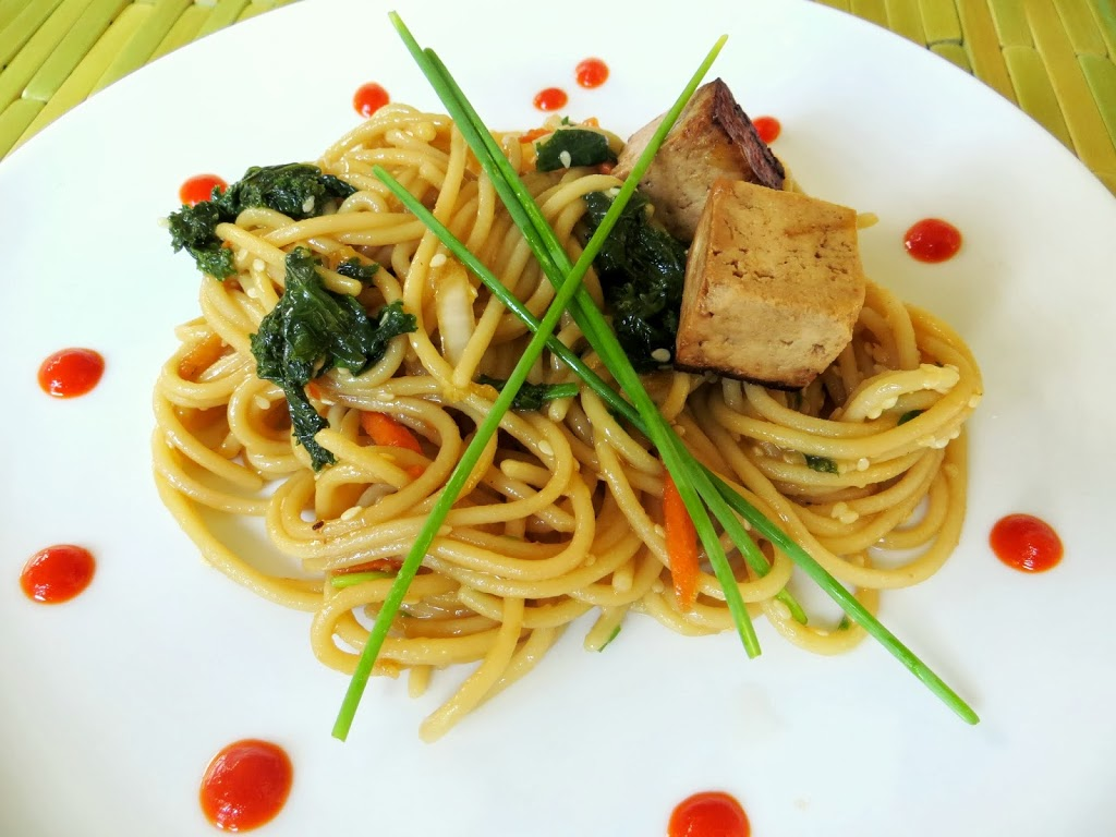 Quick Sesame Noodles and Kale with Tamari Tofu