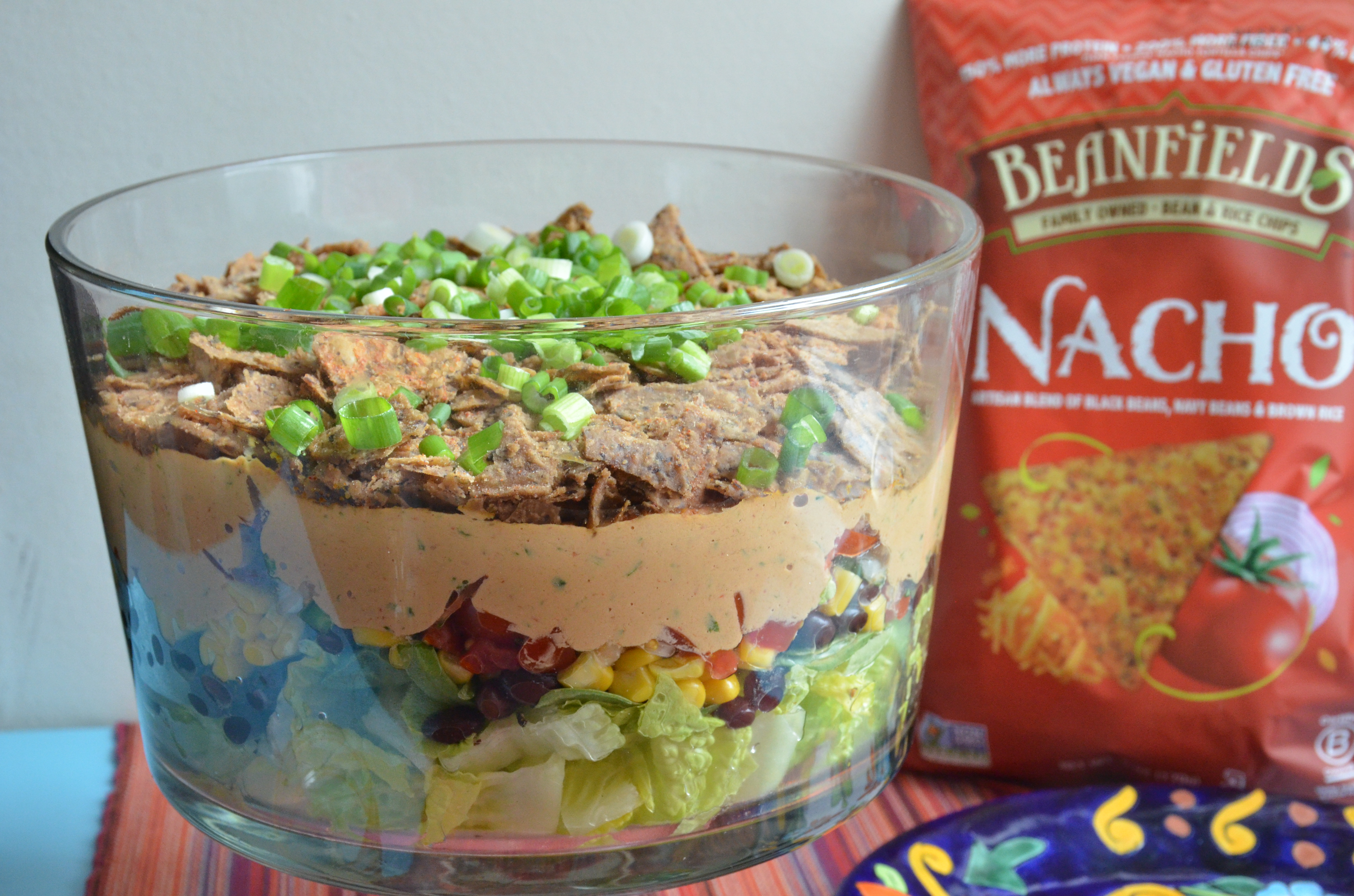 Layered Taco Salad Featuring Beanfields Nacho Chips