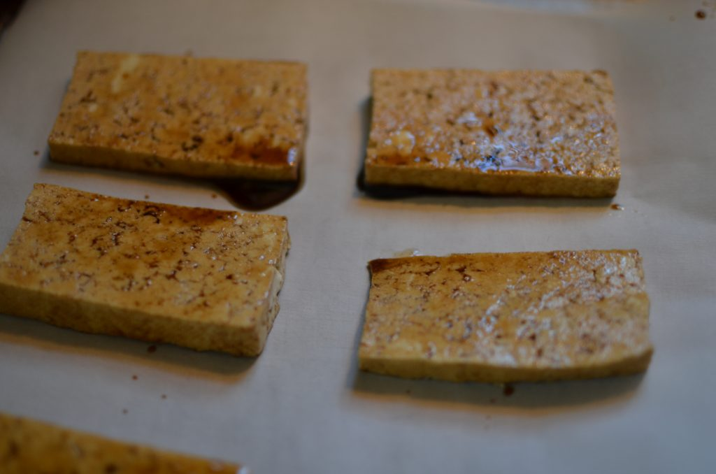 Marinated tofu just before placing in the oven.