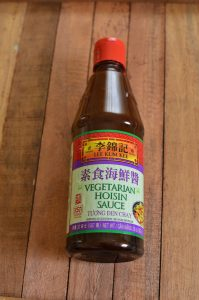 A bottle of vegetarian hoisin sauce.