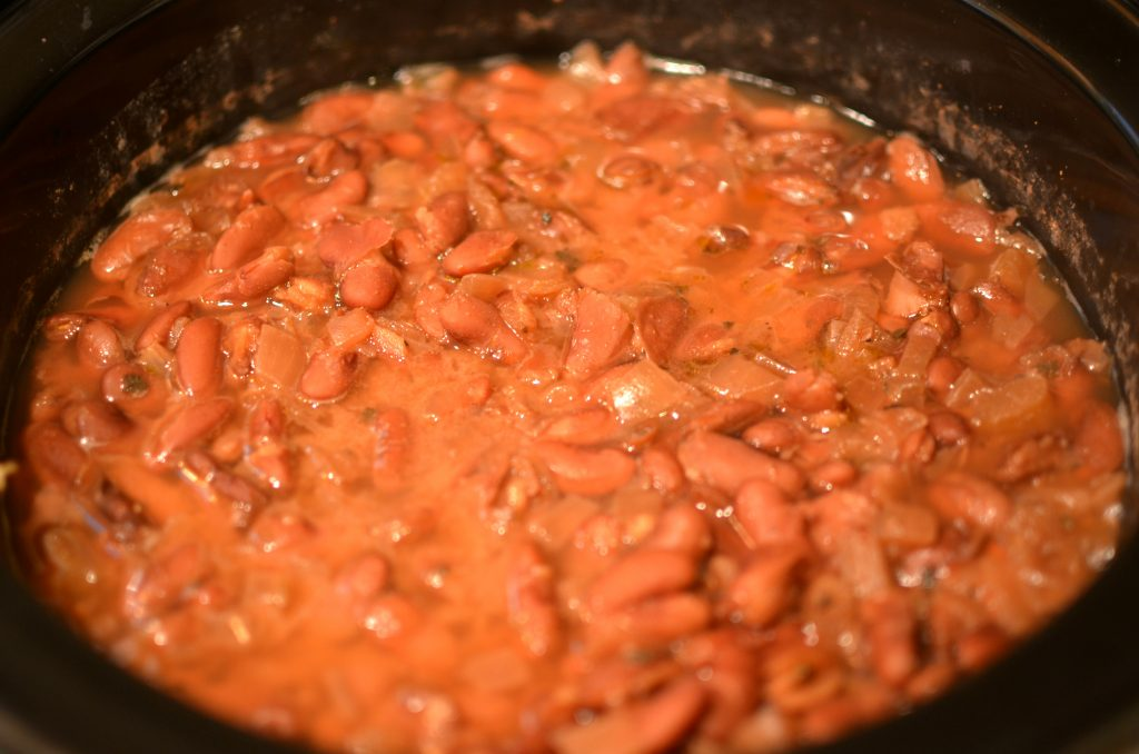 Red beans and rice cooked in a crockpot.
