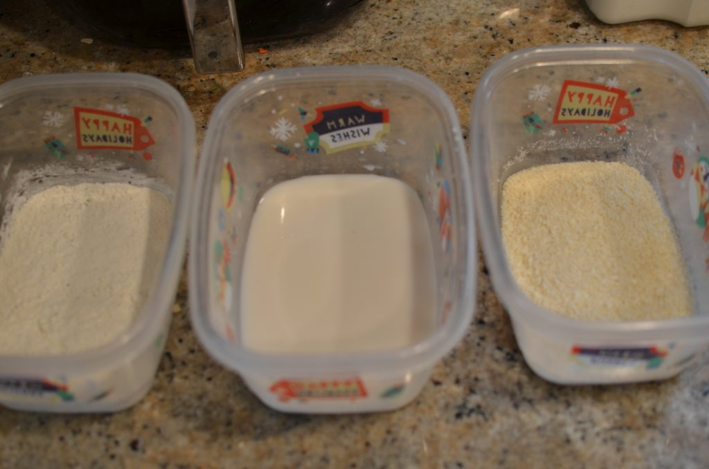 Assembly line of flour, milk, and panko